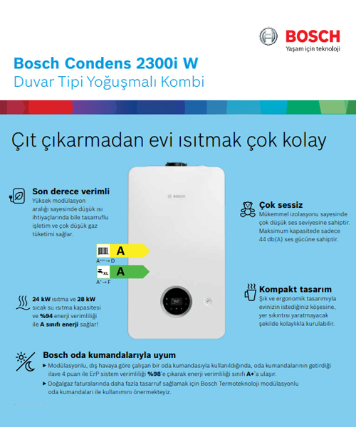 Bosch Condens 2300i W 24 kW C 23 20,726 Kcal/H